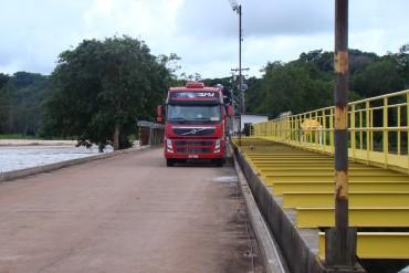 Prova de carga com caminhão carregado