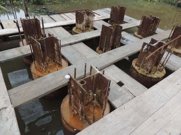 Estacas de um bloco, onde foi realizada prova de carga estática e dinâmica