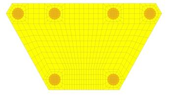 Malha de elementos finitos do bloco com refinamento na região das estacas