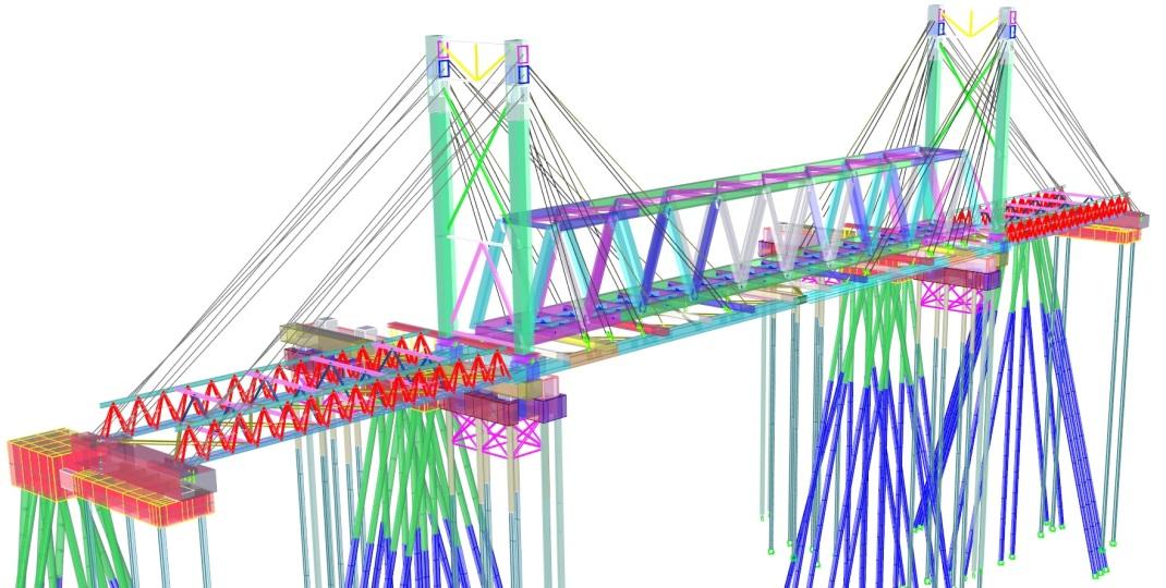 Modelo da nova ponte sobre a estrutura temporária de suporte
