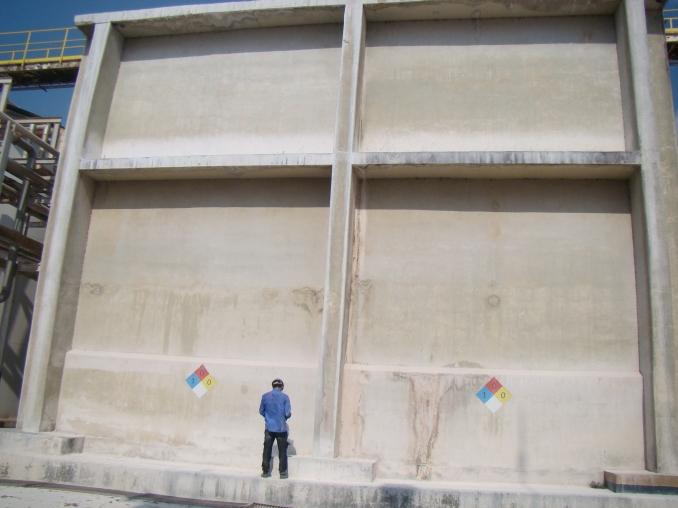 Vista geral do tanque de concreto