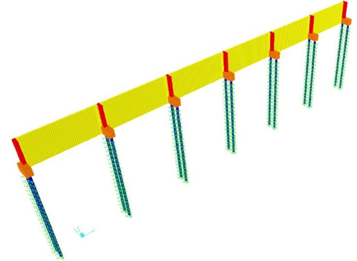 modelo computacional do muro com estacas