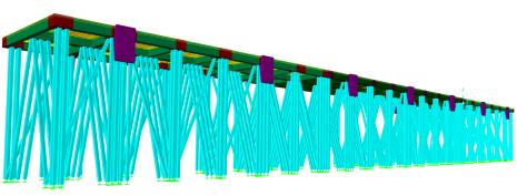 Modelo Computacional com representação das Estacas Pré-moldadas em Concreto Armado