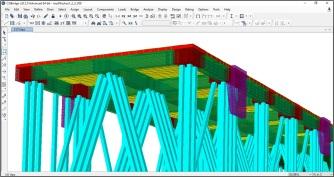 Modelo da Estrutura com detalhes das estacas pré-moldadas